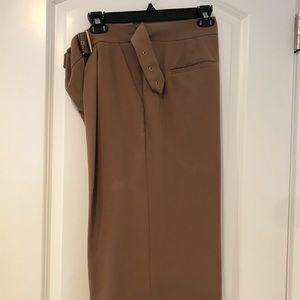 Tan WHBM Capri pants wide leg crop size 12S